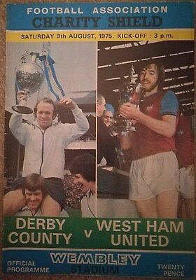 Football programme - Derby v West Ham Charity Shield 1975