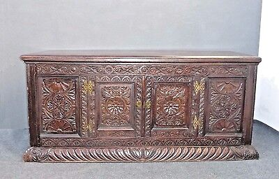 Antique European Detailed Highly Carved Buffet Spanish Style Credenza Sideboard