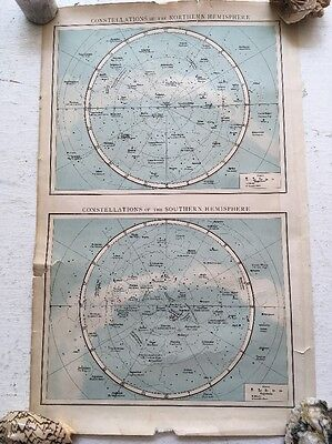 Constellations of Northern Southern Hemisphere Antique Vintage Print