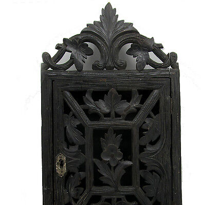 ANTIQUE WOODEN CARVED Key Cabinet BOX GERMAN Black Forest 1880 s FLORAL DECOR