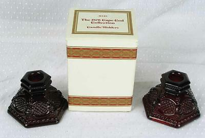 Pair Vintage Avon Cape Cod Red Ruby Pressed Sandwich Glass Candle Holders (HH)
