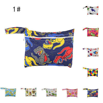 Reusable Waterproof Baby Infant Kids Cloth Diaper Nappy Pouch Zip Wet Dry Bags