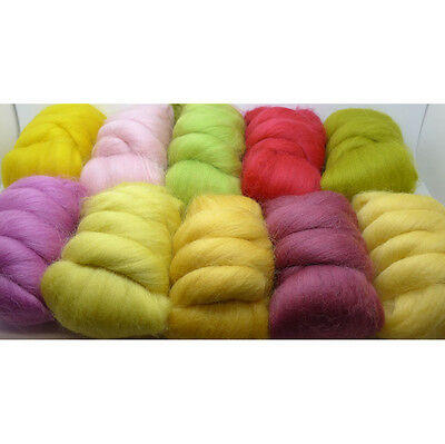 10 x 25g MERINO MINIS SPRING colours dyed combed wool top