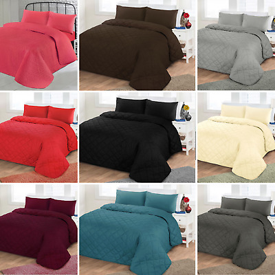 Plain Poly Cotton Quilted Bedspreads soft Diamond Reversible comforter throw