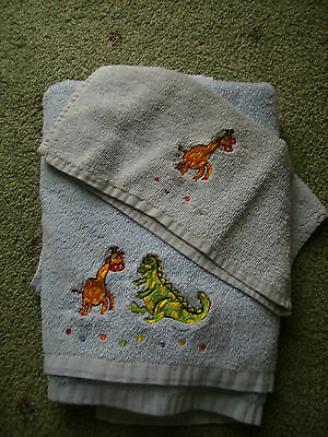Baby Boy Blue Bath Towel & Face Washer Set 2
