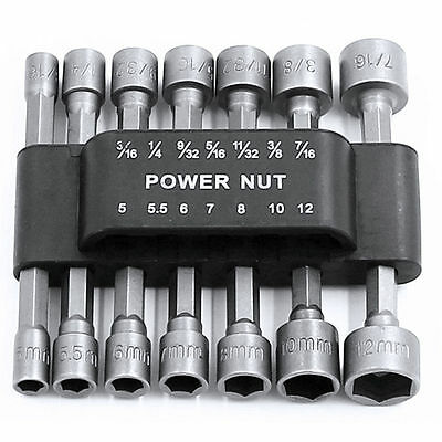 14PC Power Nut Driver Hex Shank Drill Bit Set Adapter Socket Wrench Screw Tool R
