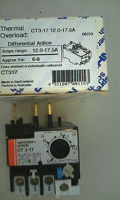 Sprecher Schuh CT3-17 Thermal Overload Protection Relay 12A-17.5A 600V NEW