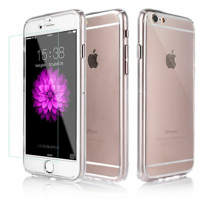 Hybrid 360° Clear Shockproof Case Tempered Glass Cover For iPhone 5s 6 6s 7,Plus