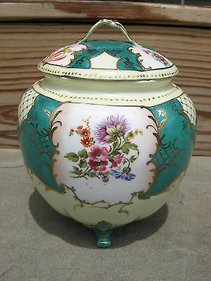 Antique Three Footed Biscut Jar - Lid has hairline crack and small chip - Flawed