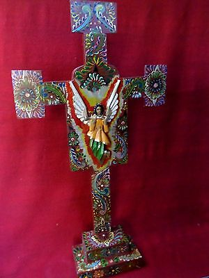 "XLarge 26"" Hand Painted Mexican Religious Folk Art Wood Stand Cross Carved Angel"