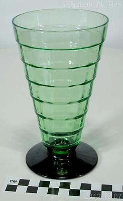 Anchor Hocking Green Depression Glass Block Optic Black Footed Tumbler (FF)