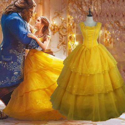 Adult Beauty and The Beast Princess Belle Cosplay Costume Ball Gown Fancy Hot
