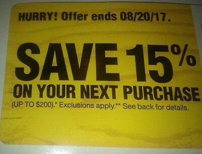 Home Depot 15% discount Promo Card Home Improvement exp 08/20 Same Day Shipping!
