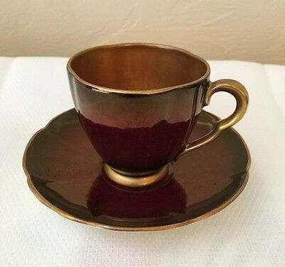 Carlton Ware Rouge Royale Demitasse Cup and Saucer Gold Lining