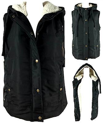 New Women's Lady's Hooded Sherpa Fur Puffer Vest Quilted Waistcoat Faux Fur Vest
