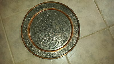 """Vintage Tinned Copper Hand Etched Persian Tray Ghalamzani 16"""" Plate"""
