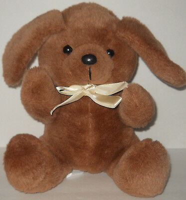 Vtg Brown Puppy Hound Dog Plush Stuffed Toy Doll Long Ears Beige Bow 10""