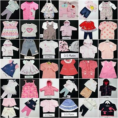 Baby Girls BUILD A BUNDLE Girls Babygrows, Coats, Tops, Rompers Dresses 0-3 Mths