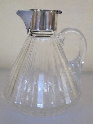 VINTAGE CUT CRYSTAL SYRUP PITCHER w/ STERLING SILVER CAP, EARLY 1900, BELGIUM