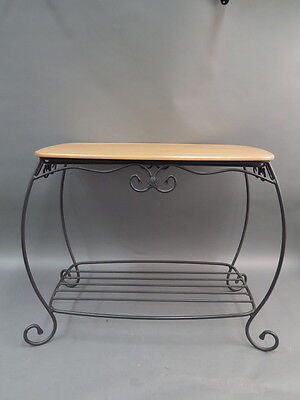 Longaberger Wood Top & Wrought Iron Table Treasure Basket Stand End Table