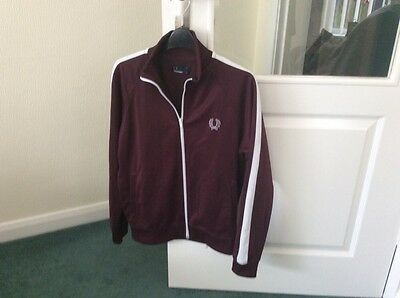 Burgandy Fred Perry Tracksuit Top Jacket