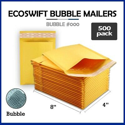 "500 #000 4x8 ""EcoSwift"" Brand Kraft Bubble Mailers Small Padded Envelope 4"" x 8"""