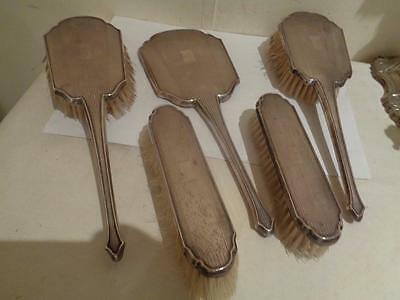 Vintage Art Deco Sterling Silver Vanity Set of 5 Pieces Mappin & Webb