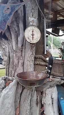 Antique Vintage Pelouze Model 401- 40 lbs Hanging Dairy Scale with Pan