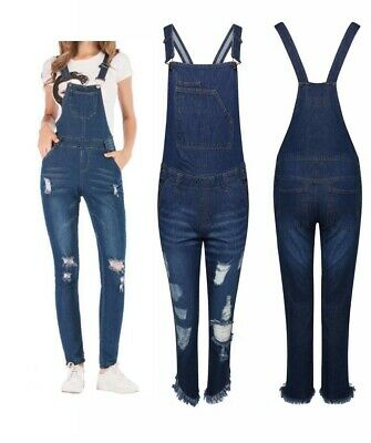 Womens Ladies Dungarees Ash Ripped Braces Denim Blue Stretchable Skinny Slim Fit