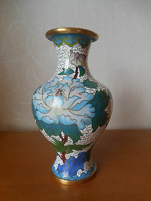 Vintage Attractive Chinese Cloisonne Vase Decorated with Flowers - No mark