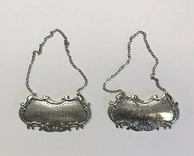 "Antique Sterling Silver ""Scotch"" and ""Bourbon"" Decanter Bottle Tags"