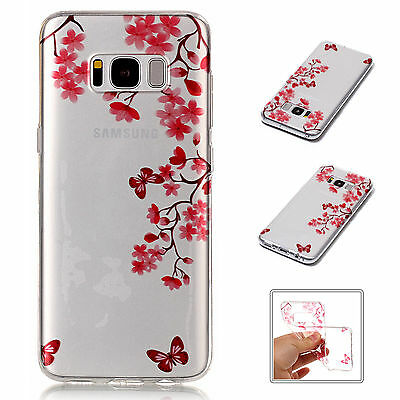 Pink Flower Pattern Soft TPU Silicone Back Case Cover For Samsung Galaxy S8 Plus