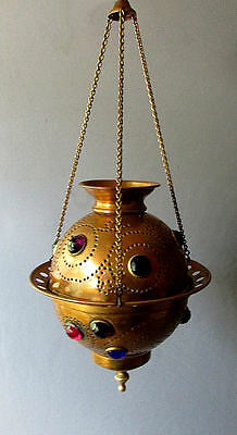 ANTIQUE 19th Century JEWELED HANGING CANDLE VOTIVE Brass FAIRY LAMP circa 1890