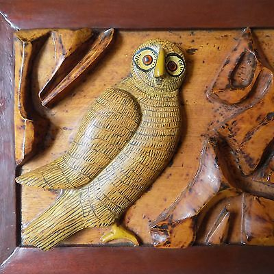 Pair Owls Owl Collector Birds Hand Carved Wood Wooden Antique Vintage Art Plaque