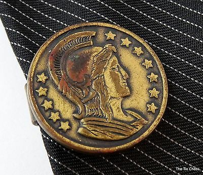 "Vintage Tie Clip Ancient Greek Roman Soldier Coin Short 3/4"" 2cm Mens Jewelry"