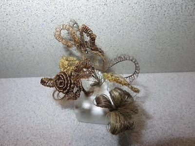 Vintage Victorian Human Hair Mourning Flower Lot of 4
