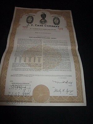 j i case tractor... Three (3)... Vintage Stock Certificates.