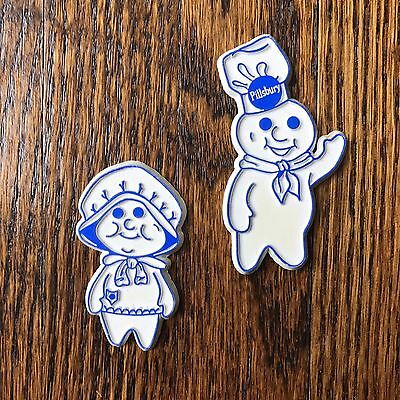Vintage Refrigerator Magnet Pillsbury Dough Boy and Girl White and Blue
