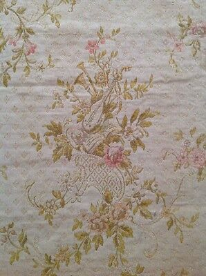 Antique French Pink Floral Cotton Brocade Jacquard Fabric