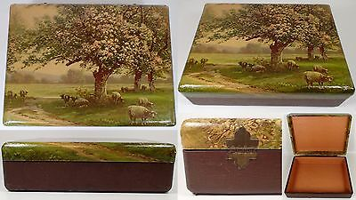 """12"""" Antique Victorian Farm Country Sheep Orchard Trees Dresser Jewelry Box"""