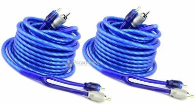 2 New 18 ft Triple Shield Twisted Interconnect RCA Audio Cable 18 Car Amp Cables