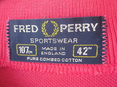 """TRUE VINTAGE 70s/80s FRED PERRY POLO SHIRT (L-40"""") MAGENTA """"MADE IN ENGLAND"""" BL"""