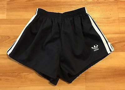Vintage 80's Adidas Trefoil Athletic Shorts Large Lined Navy Running Track
