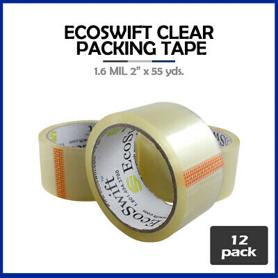 """12 Rolls """"EcoSwift Brand Packing Tape Box Packaging 1.6mil 2"""" x 55 yard (165 ft)"""