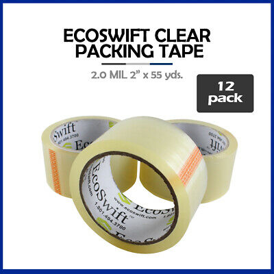 """12 Rolls """"EcoSwift Brand Packing Tape Box Packaging 2.0mil 2"""" x 55 yard (165 ft)"""
