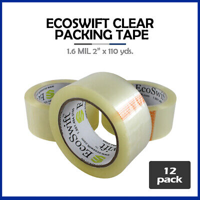 """12 Rolls EcoSwift Brand Packing Tape Box Packaging 1.6mil 2"""" x 110 yard (330 ft)"""