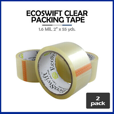 "2 Rolls ""EcoSwift"" Brand Packing Tape Box Packaging 1.6mil 2"" x 55 yard (165 ft)"