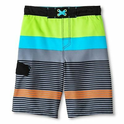 New BOYS Cherokee Green Multi Surf Swim Beach Lined Shorts size L 12/14 UPF 50+