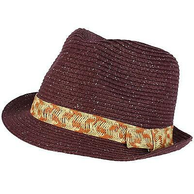 Girls Kids Shimmer Ribbon Bow Ages 4-9 Child Summer Sun Fedora Trilby Hat Purple