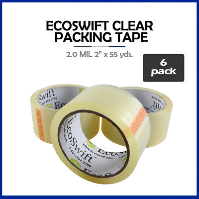 """6 Rolls """"EcoSwift"""" Brand Packing Tape Box Packaging 2.0mil 2"""" x 55 yard (165 ft)"""